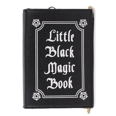 Wiccan Little Black Magic Book Clutch Shoulder Handbag - Black
