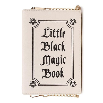 Wiccan Little Black Magic Book Clutch Shoulder Handbag - Cream