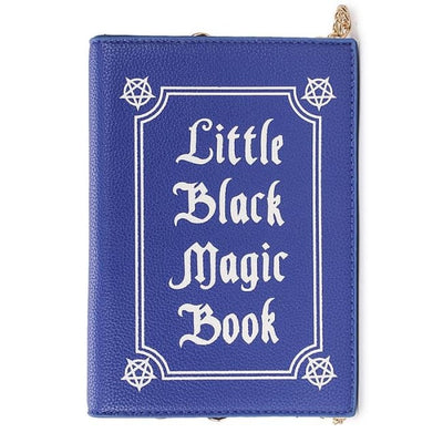 Wiccan Little Black Magic Book Clutch Shoulder Handbag - Blue