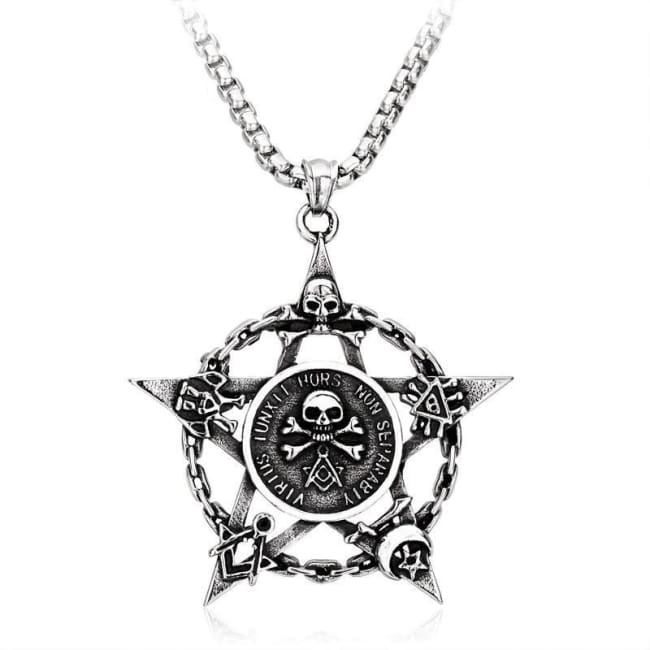 "WICCAN ""Whom virtue unites, death will not separate"" STAINLESS STEEL PENTAGRAM SKULL PENDANT"