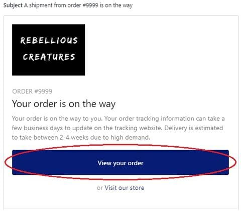 Rebellious Creatures - order tracking instructions