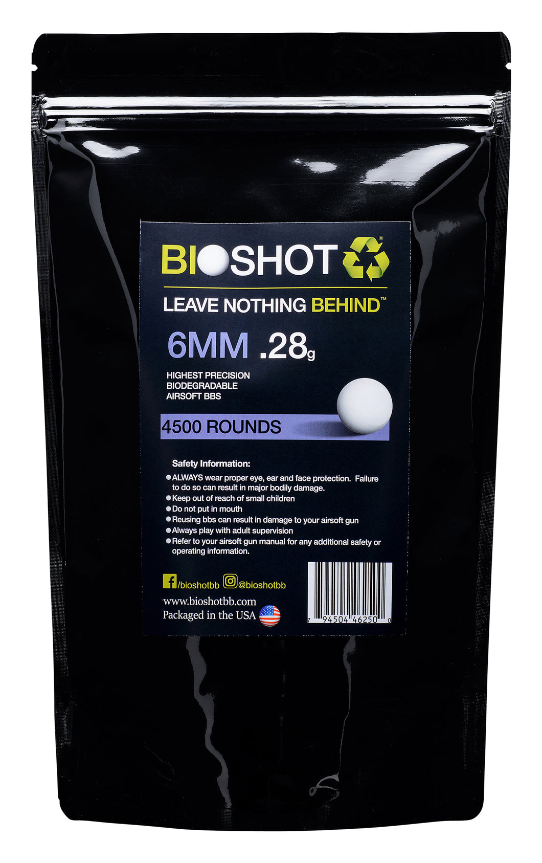 6mm .28g Biodegradable Airsoft (4500 rounds White)
