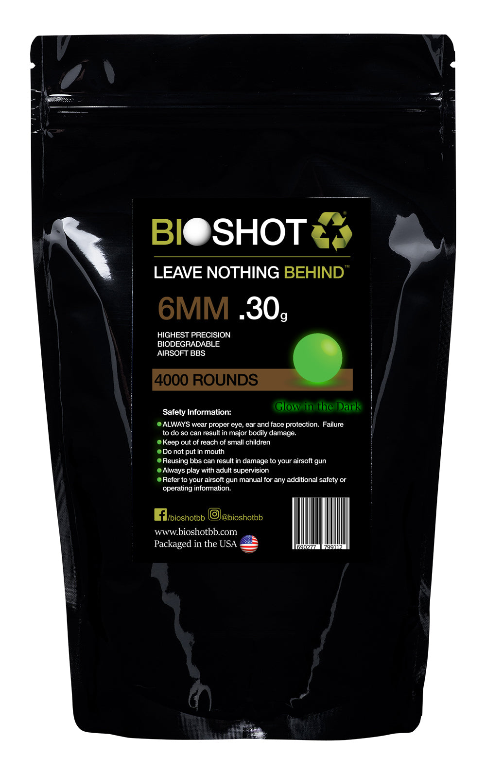 6mm .30g Biodegradable TRACER Airsoft BBs (4000 rounds Green Tracer)