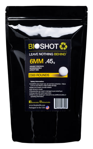 6mm .45g Biodegradable Airsoft BBs (2300 rounds White)