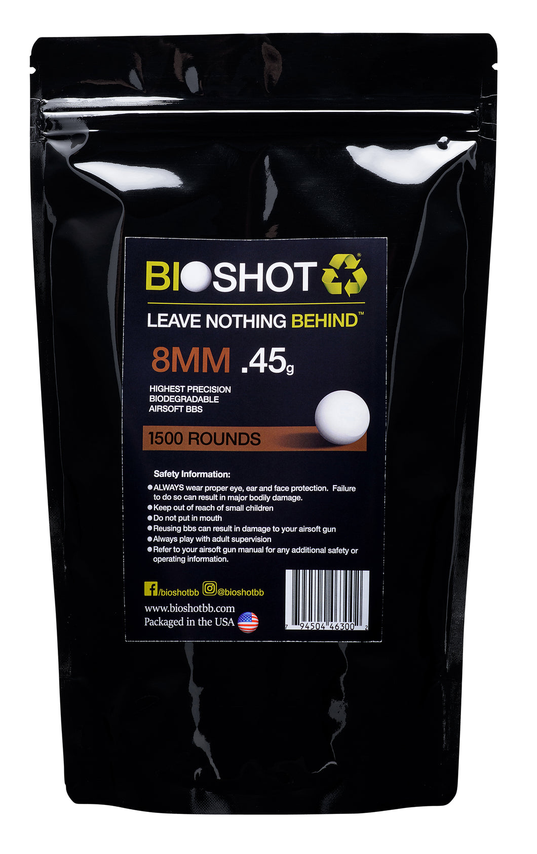 8mm .45g Biodegradable Airsoft BBs (1500 rounds White)