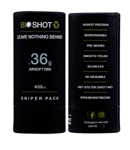 BioShot .36g 400 Round Sniper Pack Competition Grade Biodegradable 6mm Airsoft bbs
