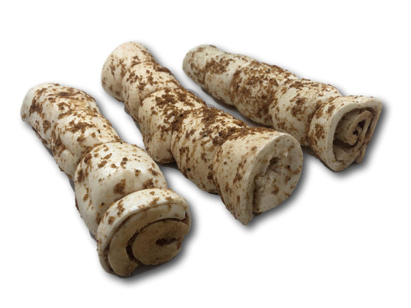 "Buffalo Beef Cheek Rolls with Bully Sprinkles 10""-12"" - Top Dog Chews"