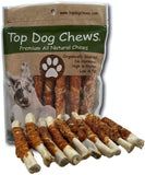 Chicken Wrapped Rawhide Rolls - All Natural Gluten Free Dog Treats - North American Made - 25 Pack - Top Dog Chews