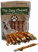 Chicken Wrapped Rawhide Twist- All Natural Gluten Free Dog Treats - North American Made - 50 Pack - Top Dog Chews