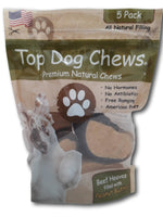 Peanut Butter Filled Cow Hooves for Dogs - Made in The USA Bag of 5 - Top Dog Chews