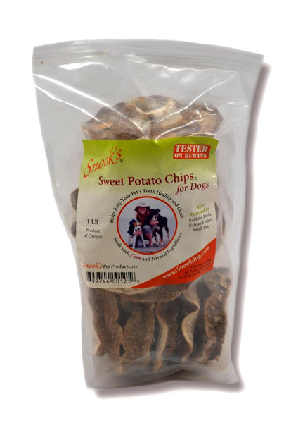 Snook Sweet Potato Dog Chips - 1lb Bag - Top Dog Chews