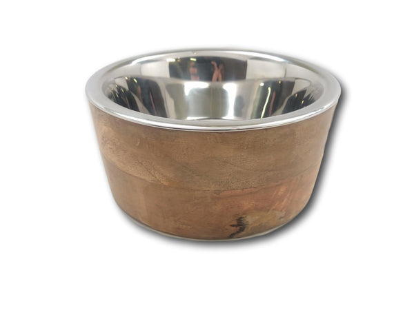 Steel Dog Bowl with and Wooden Stand 1 Qt. - Top Dog Chews