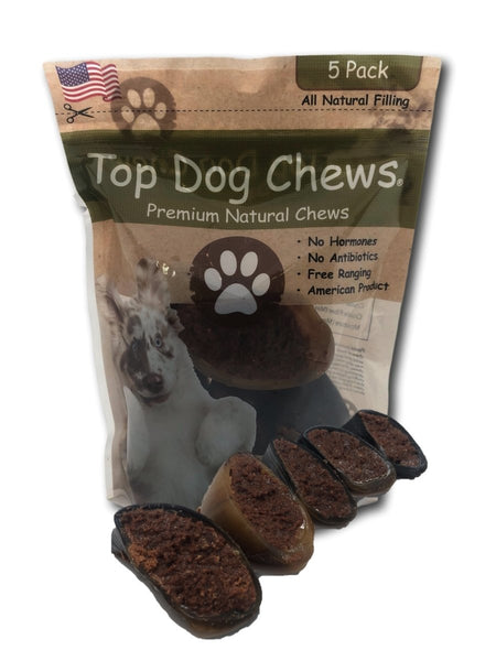 Top Dog Chews - 5 Pack of Pork Jerky Filled Cow Hooves - Made in USA - Top Dog Chews