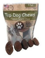 Top Dog Chews - 5 Pack of Salmon Jerky Filled Cow Hooves - Made in USA. - Top Dog Chews
