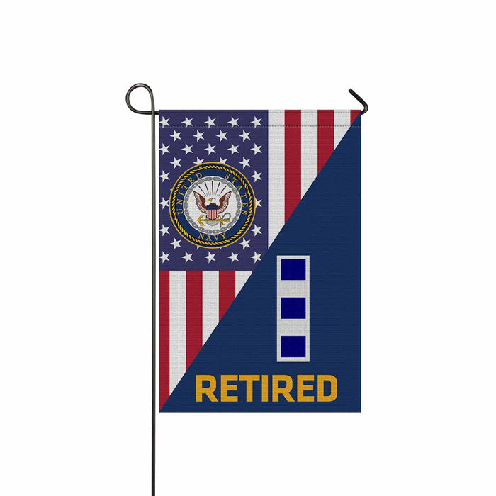 US Navy W-4 Chief Warrant Officer 4 W4 CW4 Warrant Officer Retired Garden Flag 12'' x 18'' Twin-Side Printing