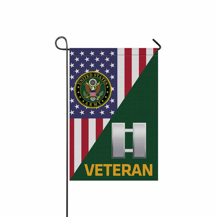 US Army O-3 Captain O3 CPT Commissioned Officer Veteran Garden Flag 12'' x 18'' Twin-Side Printing