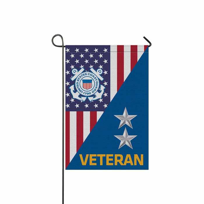 US Coast Guard O-8 Rear Admiral O8 RADM Flag Officer Ranks Veteran  Garden Flag 12'' x 18'' Twin-Side Printing