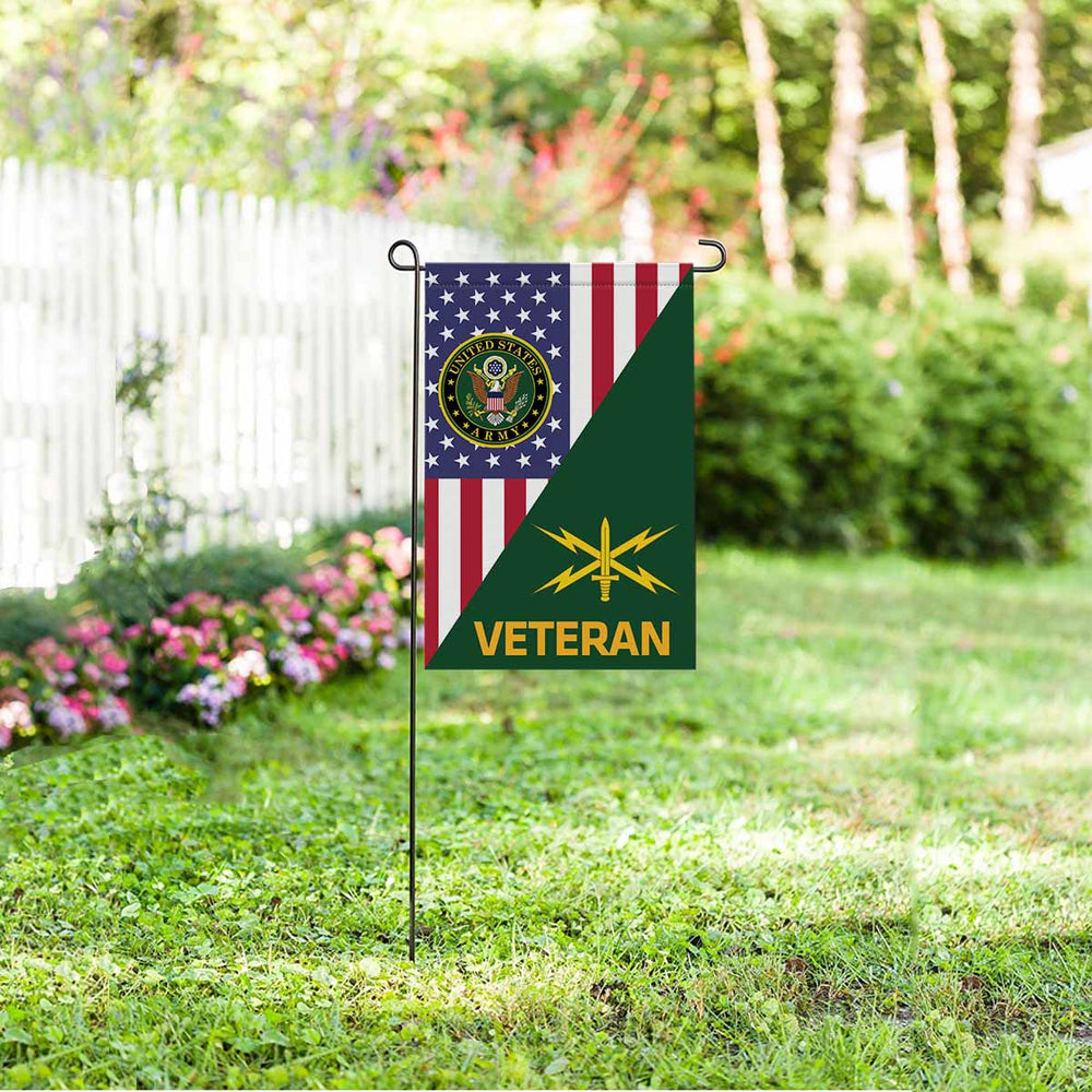 US  Army Cyber Corps Veteran Garden Flag 12 Inch x 18 Inch Twin-Side Printing