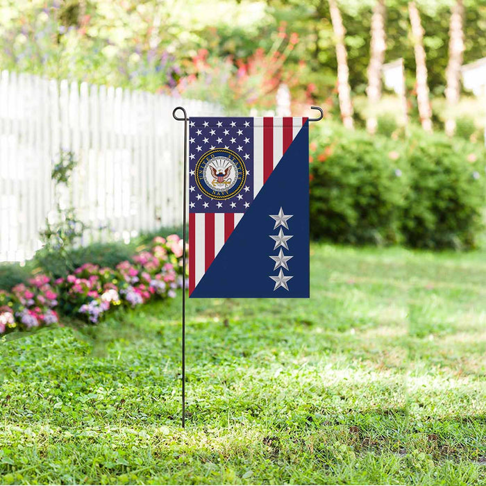 US Navy O-10 Admiral O10 ADM Flag Officer Garden Flag 12'' x 18'' Twin-Side Printing