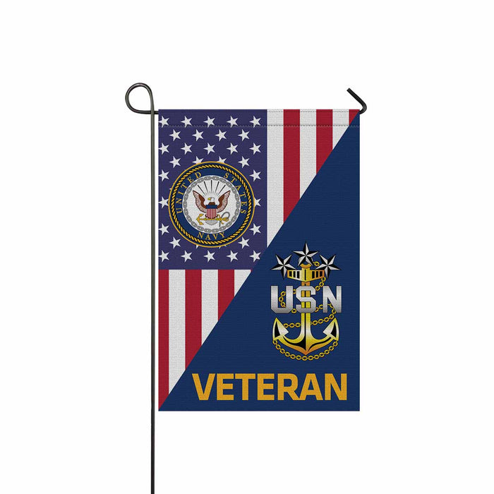 US Navy E-9 Master Chief Petty Officer Of The Navy E9 MCPON Senior Enlisted Advisor Collar Device Veteran Garden Flag 12'' x 18'' Twin-Side Printing