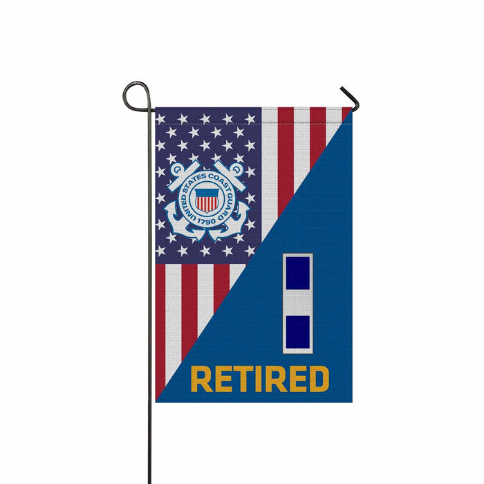 US Coast Guard W-3 Chief Warrant Officer 3 W3 CWO-3 Chief Warrant Officer Ranks Retired Garden Flag 12'' x 18'' Twin-Side Printing