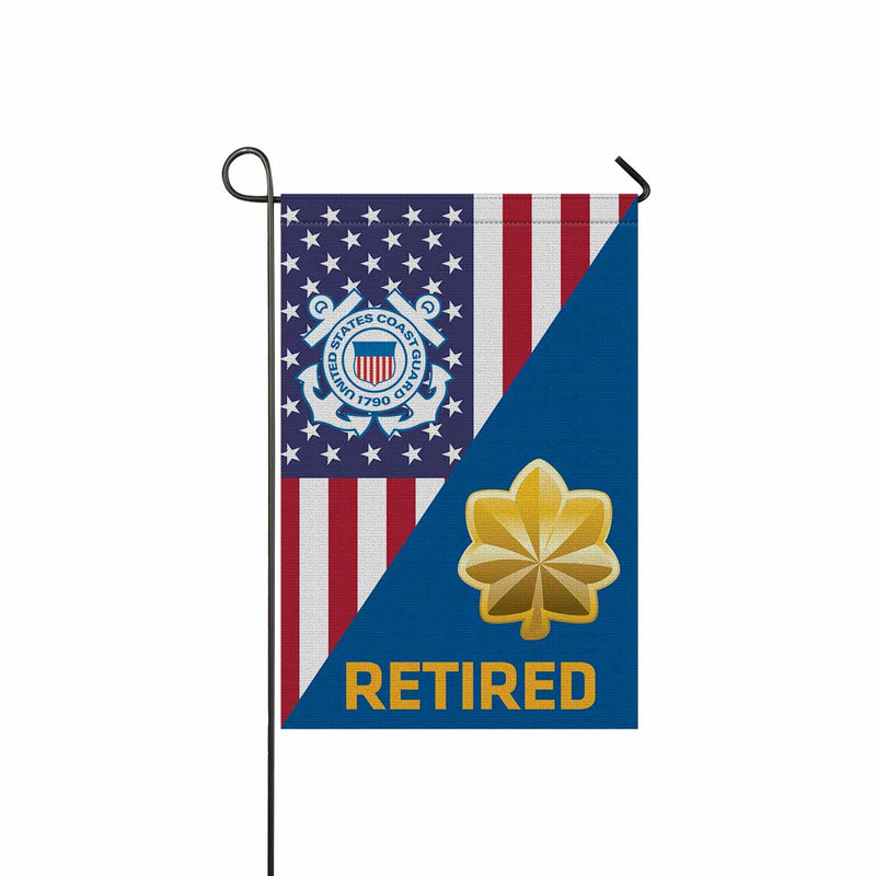 US Coast Guard O-4 Lieutenant Commander O4 LCDR Junior Officer Ranks Retired Garden Flag 12'' x 18'' Twin-Side Printing