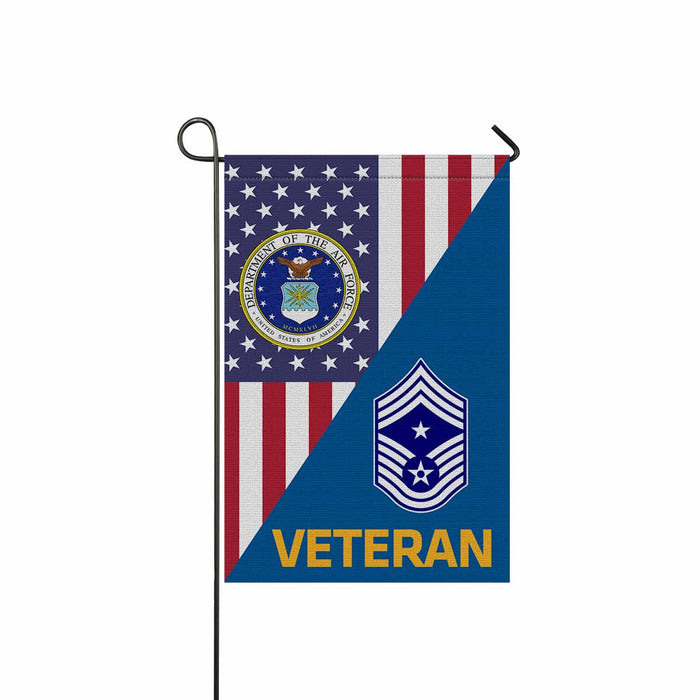 US Air Force E-9 Command Chief Master Sergeant CCM E9 Veteran Garden Flag 12'' x 18'' Twin-Side Printing