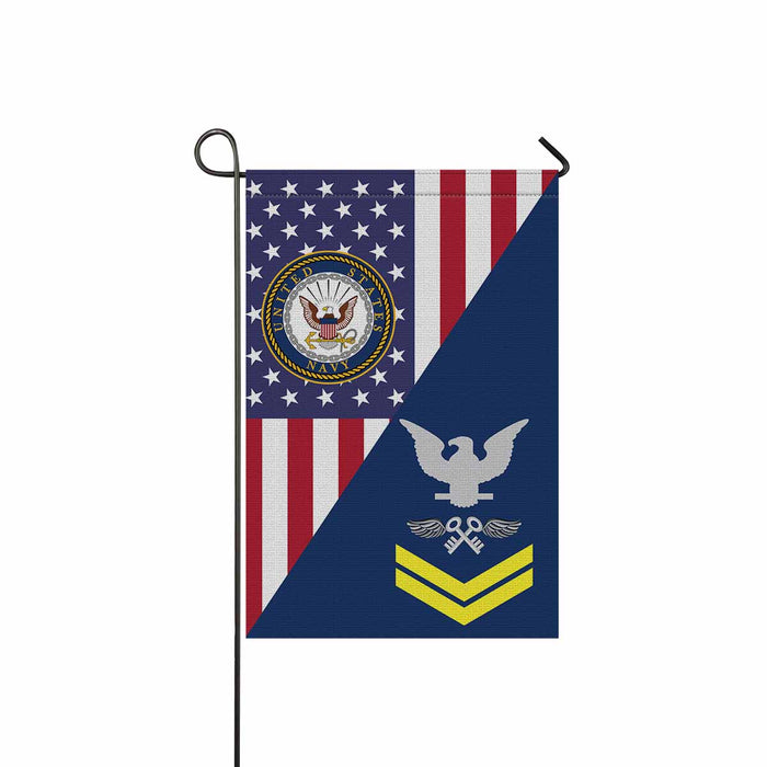 "Navy Aviation Storekeeper Navy AK E-5 Gold Stripe  Garden Flag 12"" x 18"""
