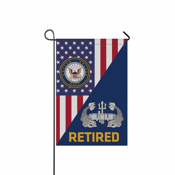 US Navy Deep Submergence Enlisted Badge Retired Garden Flag 12'' x 18'' Twin-Side Printing