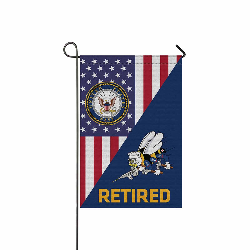 US Navy Seabees Retired Garden Flag 12'' x 18'' Twin-Side Printing