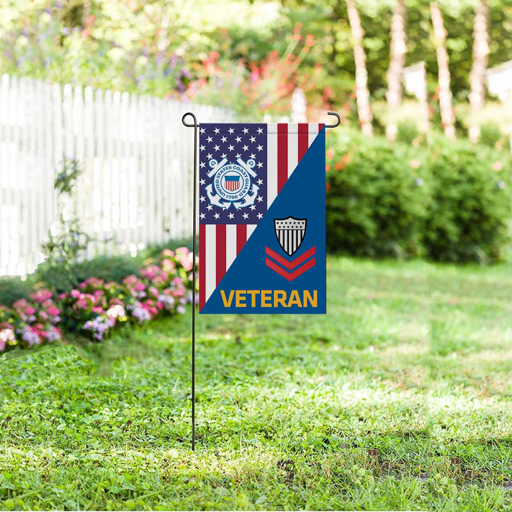 US Coast Guard E-5 Petty Officer Second Class E5 PO2 Petty Officer Collar Device Veteran Garden Flag 12'' x 18'' Twin-Side Printing