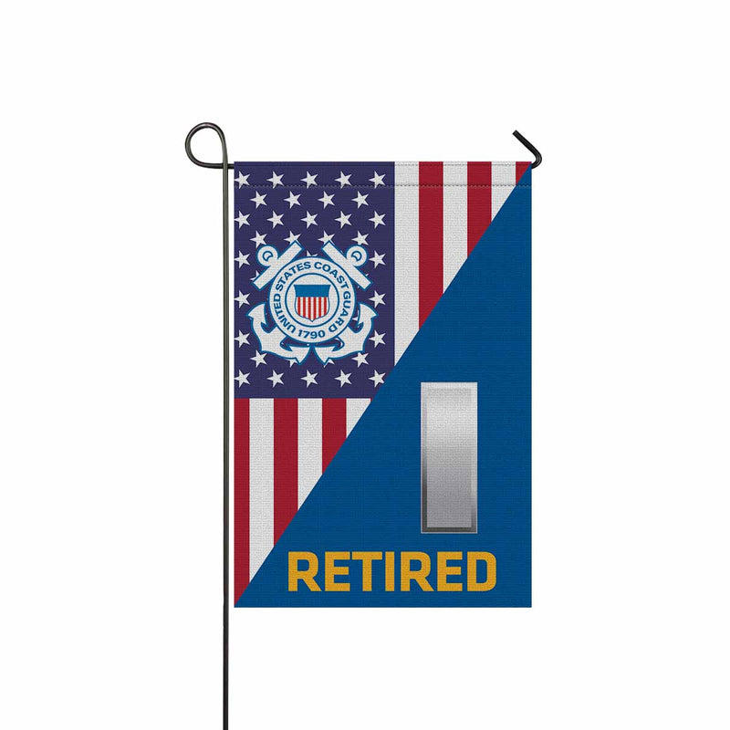 US Coast Guard O-2 Lieutenant Junior Grade O2 LTJG Junior Officer Ranks Retired Garden Flag 12'' x 18'' Twin-Side Printing