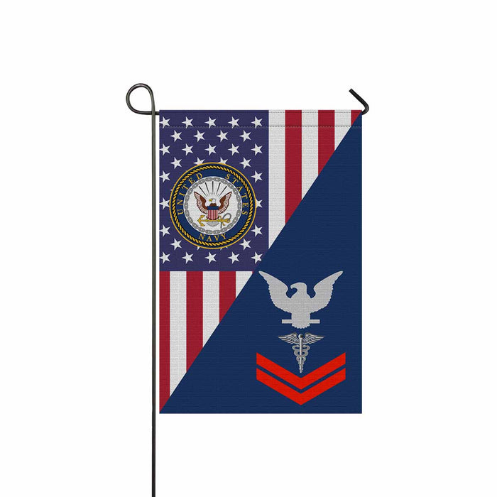 "U.S Navy Hospital Corpsman Navy HM E-5 Red Stripe  Garden Flag 12"" x 18"""