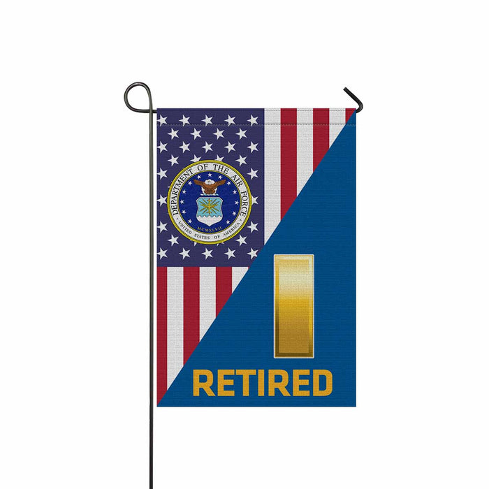 US Air Force O-1 Second Lieutenant 2d Lt O1 Retired Garden Flag 12'' x 18'' Twin-Side Printing