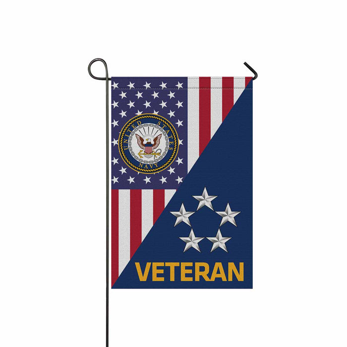 US Navy O-11 Fleet Admiral O11 FADM Flag Officer Veteran Garden Flag 12'' x 18'' Twin-Side Printing