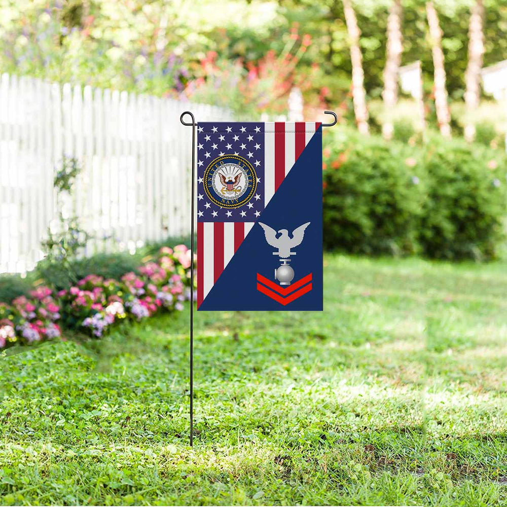 "Navy Utilitiesman Navy UT E-5 Red Stripe  Garden Flag 12"" x 18"""