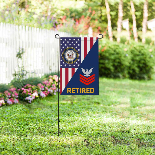 US Navy E-6 Petty Officer First Class E6 PO1 Collar Device Retired Garden Flag 12'' x 18'' Twin-Side Printing