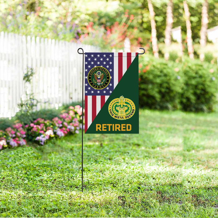 US Army Drill Sergeant Retired Garden Flag 12 Inch x 18 Inch Twin-Side Printing