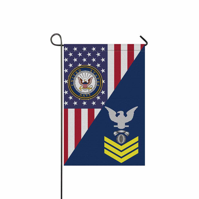 "Navy Interior Communications Electrician Navy IC E-6 Gold Stripe  Garden Flag 12"" x 18"""