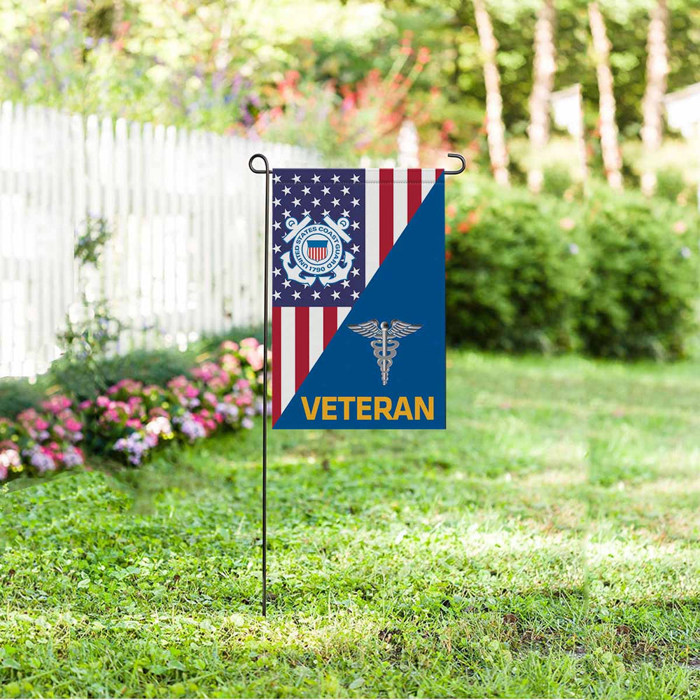US Coast Guard Health Services Technician HS Veteran Garden Flag 12'' x 18'' Twin-Side Printing