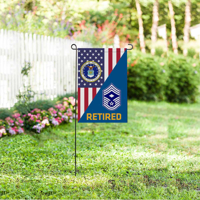 US Air Force E-9 First Sergeant Retired Garden Flag 12'' x 18'' Twin-Side Printing