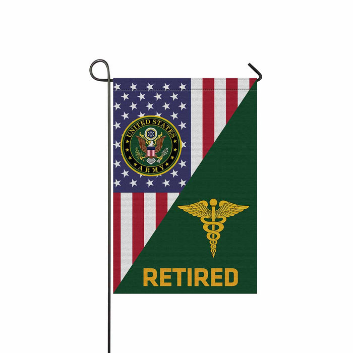 US Army Medical Corps Retired Garden Flag 12 Inch x 18 Inch Twin-Side Printing