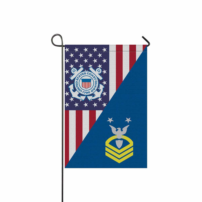 US Coast Guard E-9 Command Master Chief Petty Officer E9 CMC Chief Petty Officer Garden Flag 12'' x 18'' Twin-Side Printing