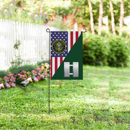 US Army O-3 Captain O3 CPT Commissioned Officer Garden Flag 12'' x 18'' Twin-Side Printing