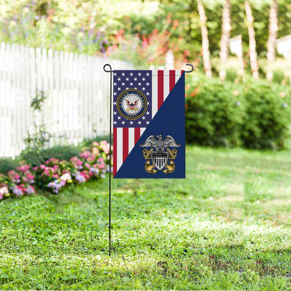 US Navy Officer Cap Device Garden Flag 12'' x 18'' Twin-Side Printing