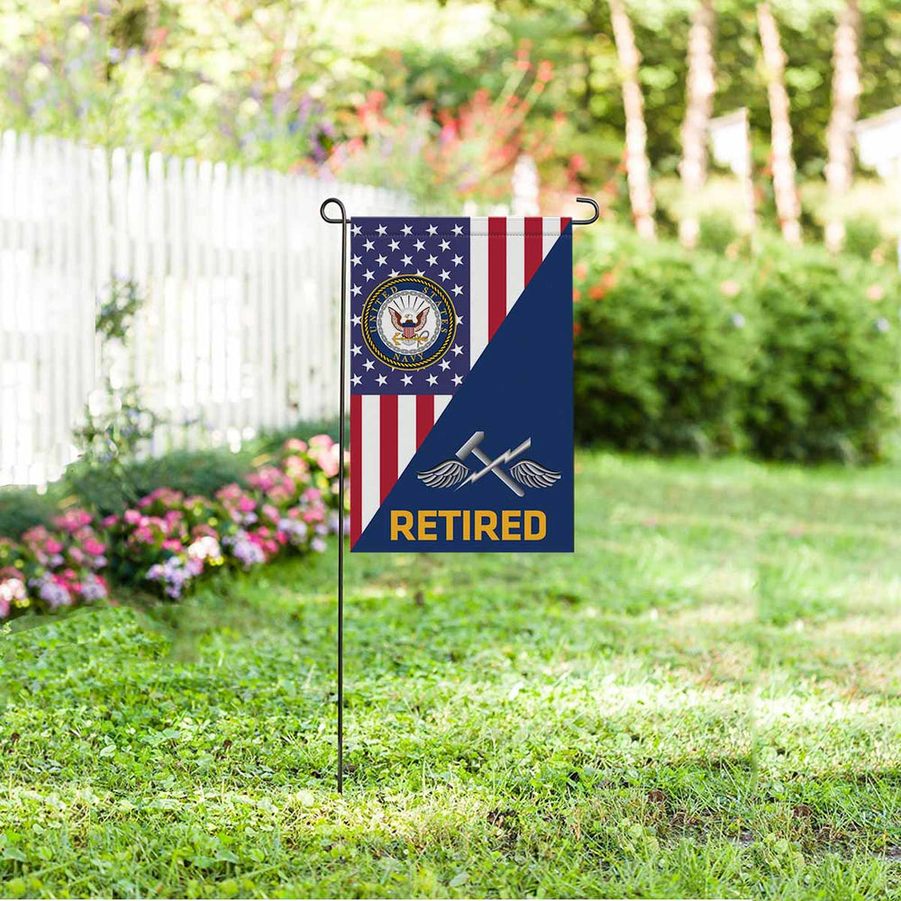 Navy Aviation Support Equipment Tech Navy AS Retired Garden Flag 12'' x 18'' Twin-Side Printing