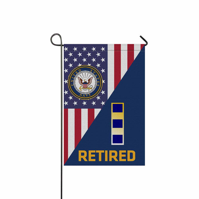 US Navy W-2 Chief Warrant Officer 2 W2 CW2 Warrant Officer Retired Garden Flag 12'' x 18'' Twin-Side Printing