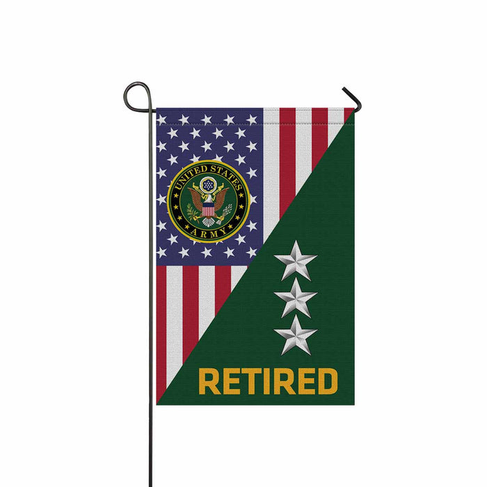 US Army O-9 Lieutenant General O9 LTG General Officer Retired Garden Flag 12'' x 18'' Twin-Side Printing