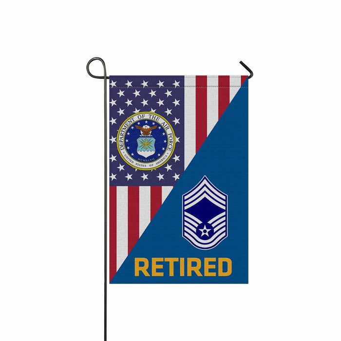 US Air Force E-9 Chief Master Sergeant CMSgt E9 Retired Garden Flag 12'' x 18'' Twin-Side Printing