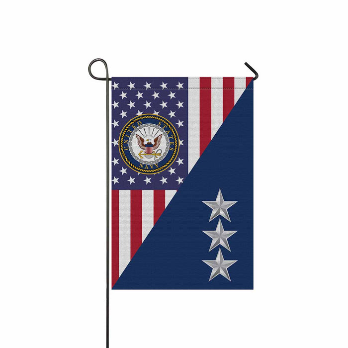 US Navy O-9 Vice Admiral O9 VADM Flag Officer Garden Flag 12'' x 18'' Twin-Side Printing